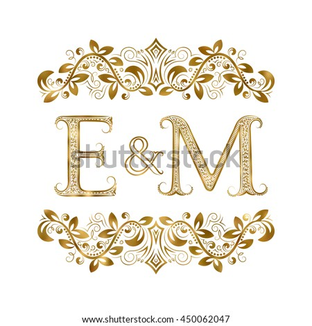 E and M vintage initials logo symbol. The letters are surrounded by ornamental elements. Wedding or business partners monogram in royal style. - stock vector