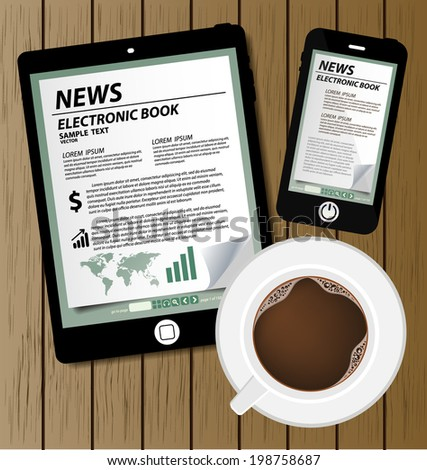 E-book display on tablet vector and coffee cup - stock vector