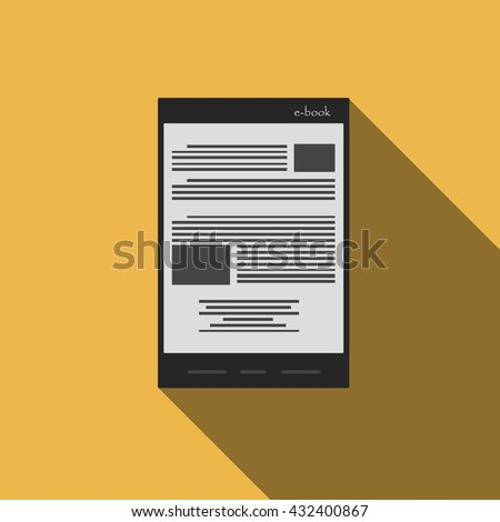 e-book reader icon in flat style. trendy modern vector illustration - stock vector