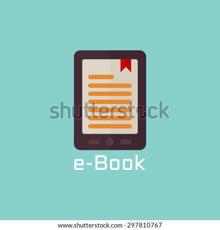 E book reader vector flat icon - stock vector