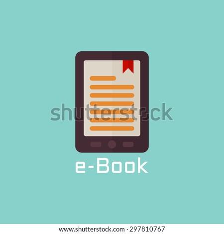 E book reader vector flat icon - stock vector