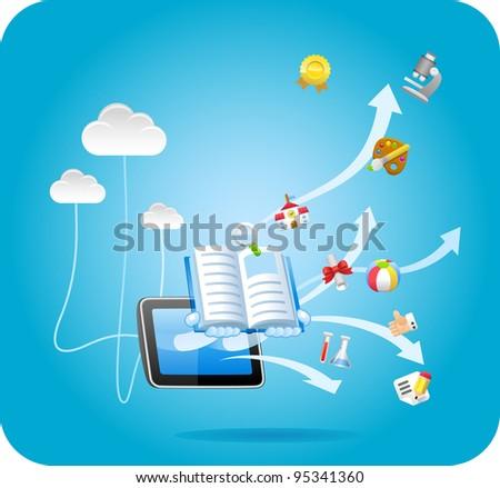 E-book,tablet PC,cloud computing ,education concept - stock vector