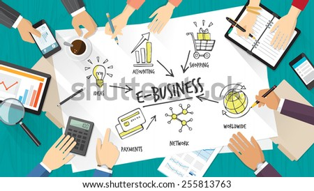 E-business teamwork with business people working together on a desk - stock vector