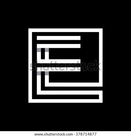 E capital letter enclosed in a square. . Overlapping with shadows monogram, logo, emblem. Trendy design.  - stock vector