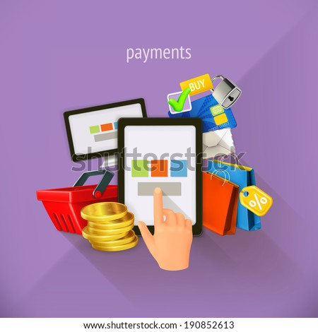 E-commerce and payments, vector illustration, flat design. Set is also suitable for mobile apps - stock vector