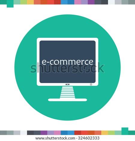 E-commerce computer icon. - stock vector