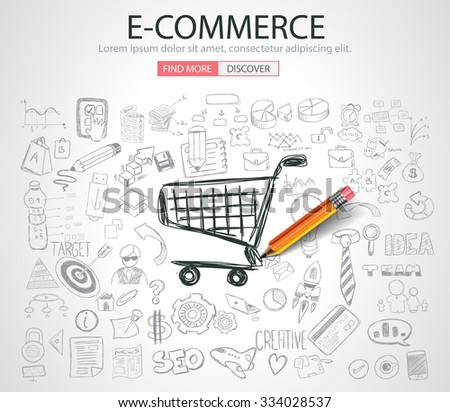 E-commerce Concept with Doodle design style :on line marketing, social media,creative thinking. Modern style illustration for web banners, brochure and flyers. - stock vector