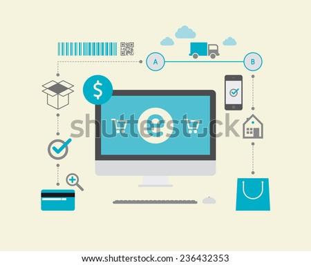 E-Commerce (Dollar) - stock vector