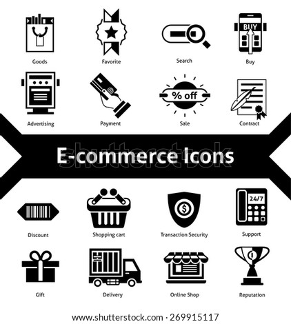 E-commerce icons black set with advertising payment transaction security isolated vector illustration - stock vector