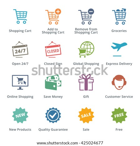 E-commerce Icons Set 2 - Colored Series - stock vector