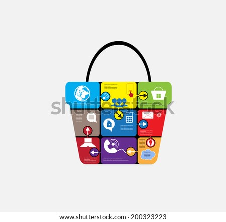E-commerce infographic, for business and social solution, shoping design - stock vector