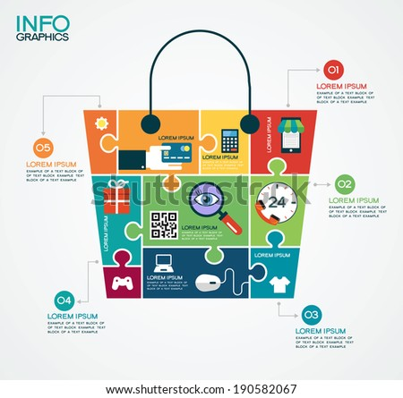 E-commerce infographic Template with bag, puzzle and interface icons . Concept add to bag. Set of modern design icons in flat design with trendy colors for web and apps. E-commerce background - stock vector