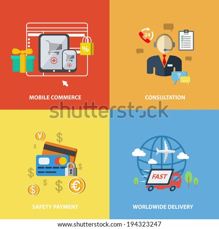 E-commerce internet shopping elements of mobile commerce consultation safety payment worldwide delivery isolated vector illustration. - stock vector