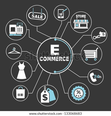 e commerce mind mapping, info graphics - stock vector