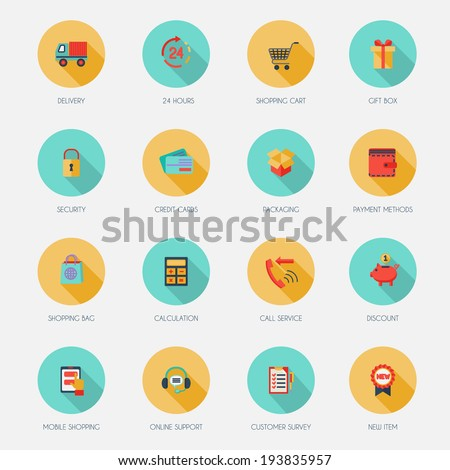 E-commerce shopping icons flat set of delivery shopping cart gift box isolated vector illustration - stock vector