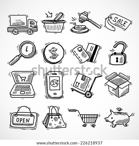 E-commerce shopping icons sketch set of delivery truck credit card piggy bank isolated vector illustration - stock vector