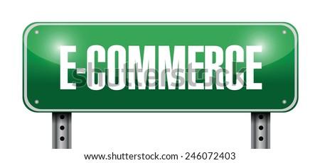 e commerce street sign illustration design over a white background - stock vector
