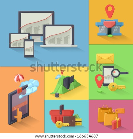 E-commerce vector icon set, multicolored - stock vector