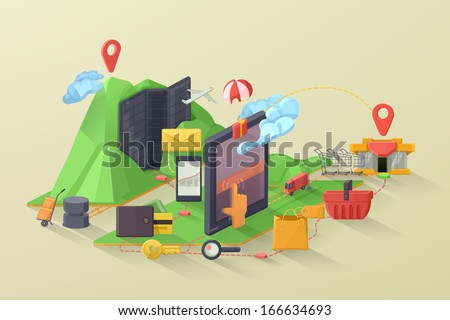 E-commerce vector illustration - stock vector