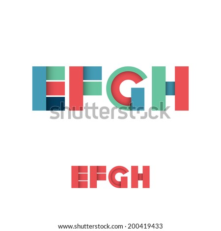 E F G H Modern Colored Layered Font or Alphabet - Vector Illustration - stock vector