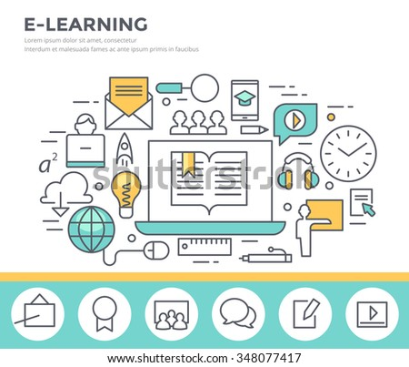 E- learning concept illustration, flat design, thin line style - stock vector