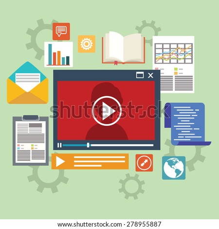 E-learning concept in flat style - digital content and online webinar icons - stock vector
