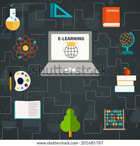 E-learning concept - laptop and different school subjects connecting to it. Math, biology, literature, geography, physics. Flat and clean education template. - stock vector