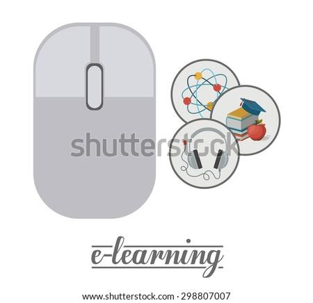 e-learning digital design, vector illustration eps 10 - stock vector