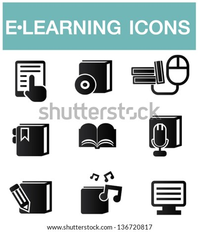 e-learning icons,vector - stock vector