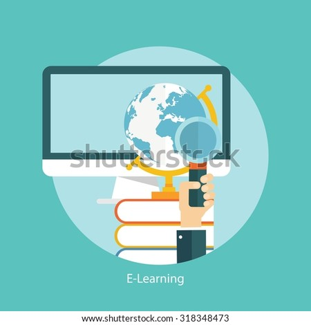 E-learning, online education concept, flat styled icon - stock vector