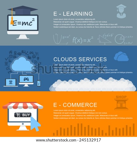 e-learning, online educations, clouds services, e-commerce. Flat design style modern vector illustration concept for web and infographic. Banners for websites. - stock vector