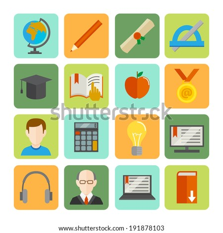 E-learning online learning knowledge and experience flat icons set isolated vector illustration - stock vector