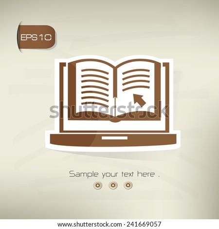 E-Learning symbol,sticker design,brown version,clean vector - stock vector