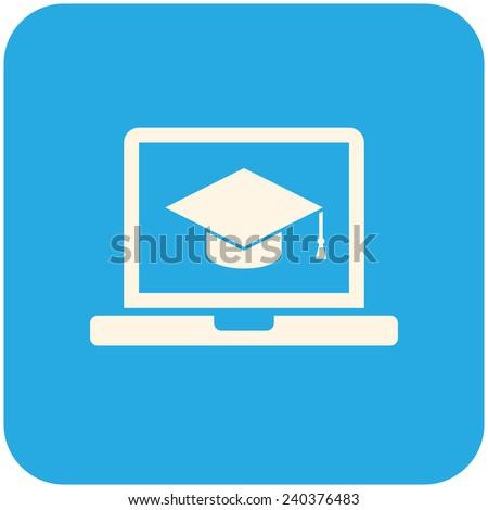 E-learning, vector icon flat design - stock vector