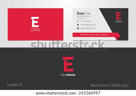 E Letter Logo Corporate Business card - stock vector