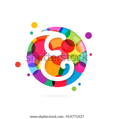 E letter logo in circle with rainbow dots. Font style, vector design template elements for your application or corporate identity. - stock vector