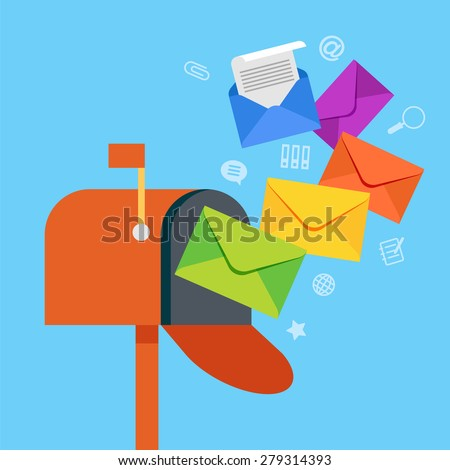 E-mail concept . Marketing e-mail . Mailbox and colored envelopes surrounded by icons . File is saved in AI10 EPS version. This illustration contains a transparency  - stock vector