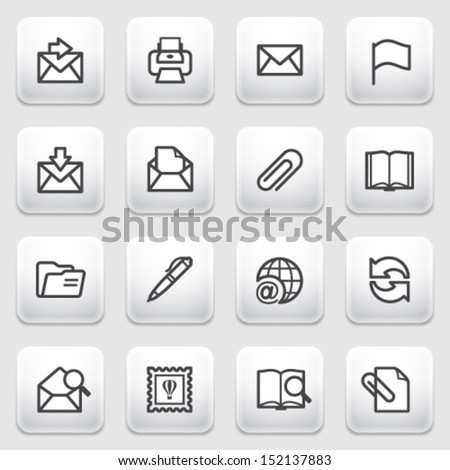 E-mail contour icons on gray background. - stock vector