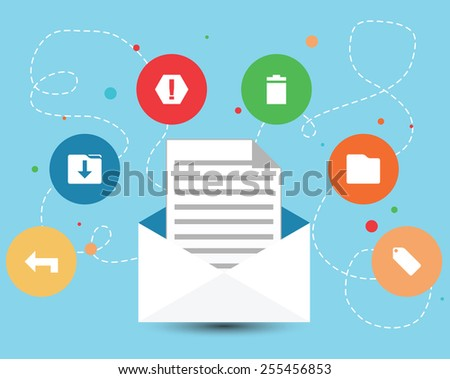 E-mail Envelope and Icons Design - stock vector