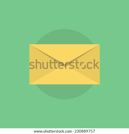 E-mail envelope in yellow color. Flat icon modern design style vector illustration concept. - stock vector