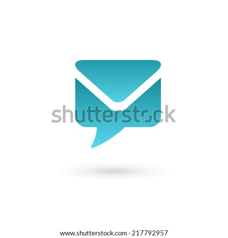 E-mail envelope speech bubble logo icon. Vector color sign. - stock vector