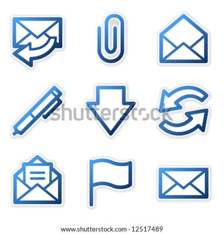 E-mail icons, blue contour series - stock vector