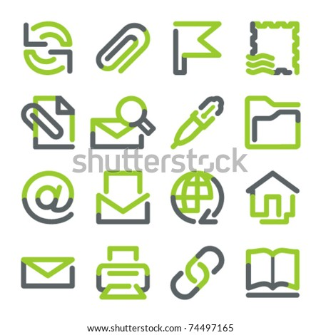 E-mail icons. Green gray contour series. - stock vector