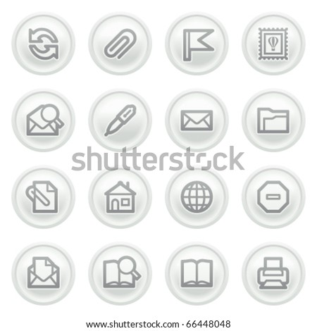 E-mail icons on gray buttons. - stock vector
