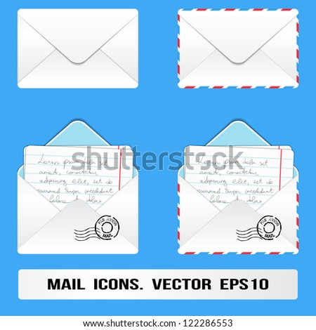 E Mail Icons set. Vector, eps10 - stock vector