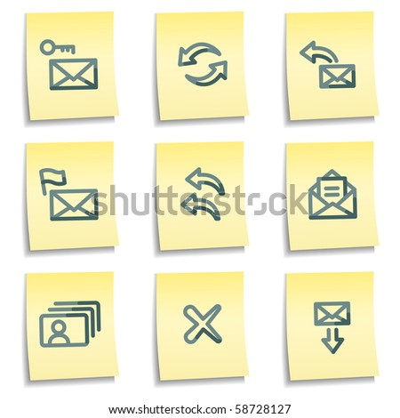 E-mail icons set 1, yellow notes series - stock vector