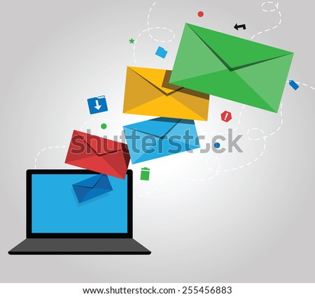 E-mail Marketing Design with Laptop, Icons and Envelopes - stock vector