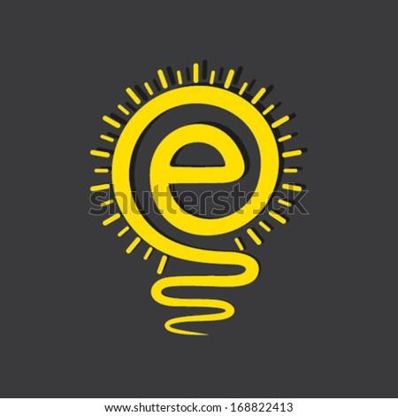 E-mail sign light bulb symbol  stock vector - stock vector