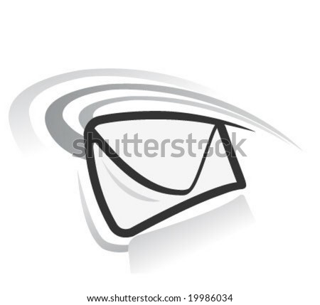 e-mail vector icon in white background - stock vector