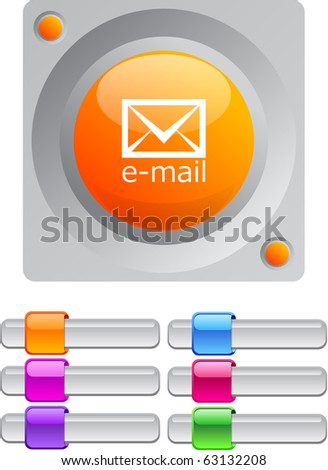 E-mail vibrant round button with additional buttons. - stock vector